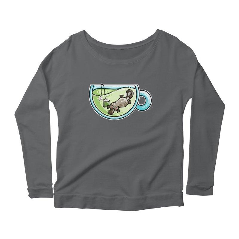 Pla-tea-pus Kawaii Cute Platypus Tea Pun Women's Scoop Neck Longsleeve T-Shirt by Flaming Imp's Artist Shop