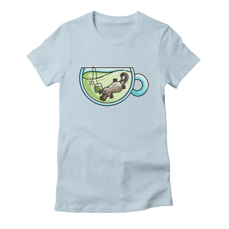 Pla-tea-pus Kawaii Cute Platypus Tea Pun Women's Fitted T-Shirt by Flaming Imp's Artist Shop