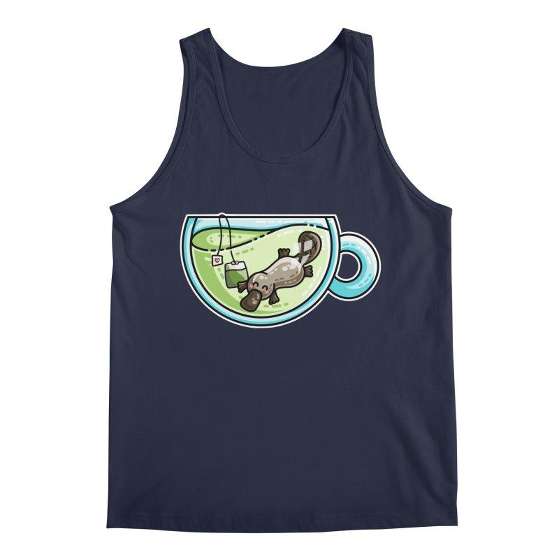 Pla-tea-pus Kawaii Cute Platypus Tea Pun Men's Regular Tank by Flaming Imp's Artist Shop