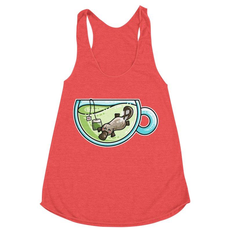 Pla-tea-pus Kawaii Cute Platypus Tea Pun Women's Tank by Flaming Imp's Artist Shop