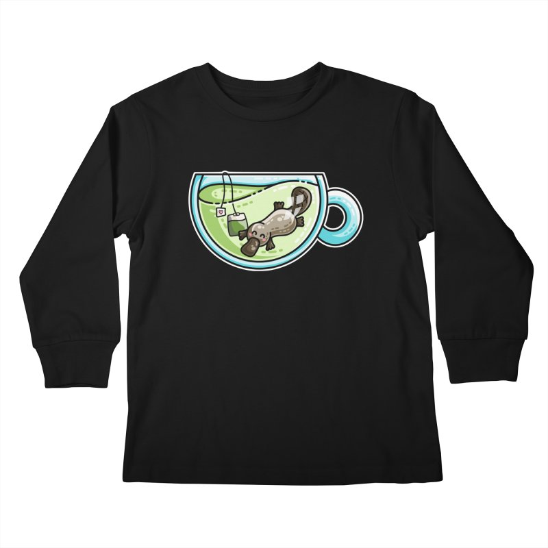 Pla-tea-pus Kawaii Cute Platypus Tea Pun Kids Longsleeve T-Shirt by Flaming Imp's Artist Shop