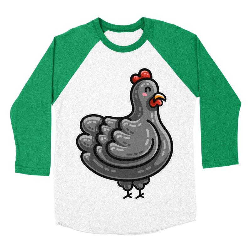 Kawaii Cute Chicken Men's Baseball Triblend Longsleeve T-Shirt by Flaming Imp's Artist Shop