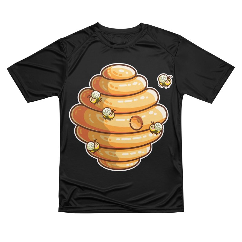 Kawaii Cute Bees and Beehive Women's Performance Unisex T-Shirt by Flaming Imp's Artist Shop