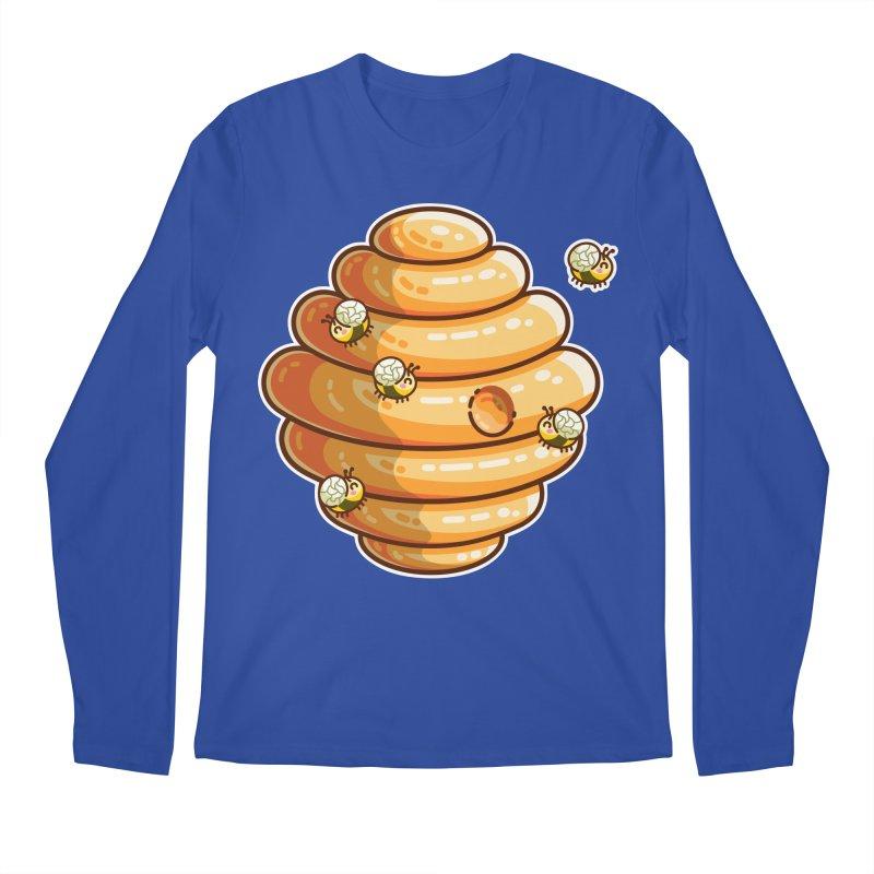 Kawaii Cute Bees and Beehive Men's Regular Longsleeve T-Shirt by Flaming Imp's Artist Shop