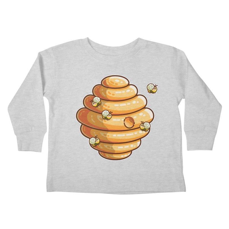 Kawaii Cute Bees and Beehive Kids Toddler Longsleeve T-Shirt by Flaming Imp's Artist Shop