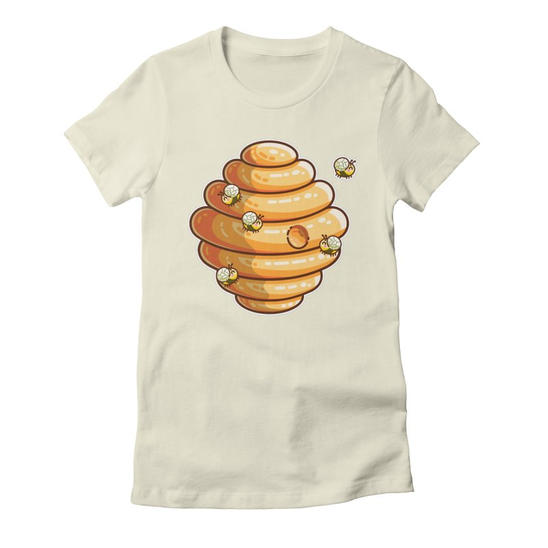 Kawaii Cute Bees and Beehive Women's Fitted T-Shirt by Flaming Imp's Artist Shop