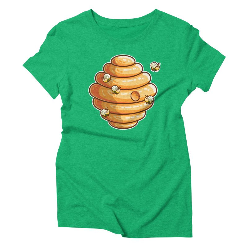 Kawaii Cute Bees and Beehive Women's Triblend T-Shirt by Flaming Imp's Artist Shop
