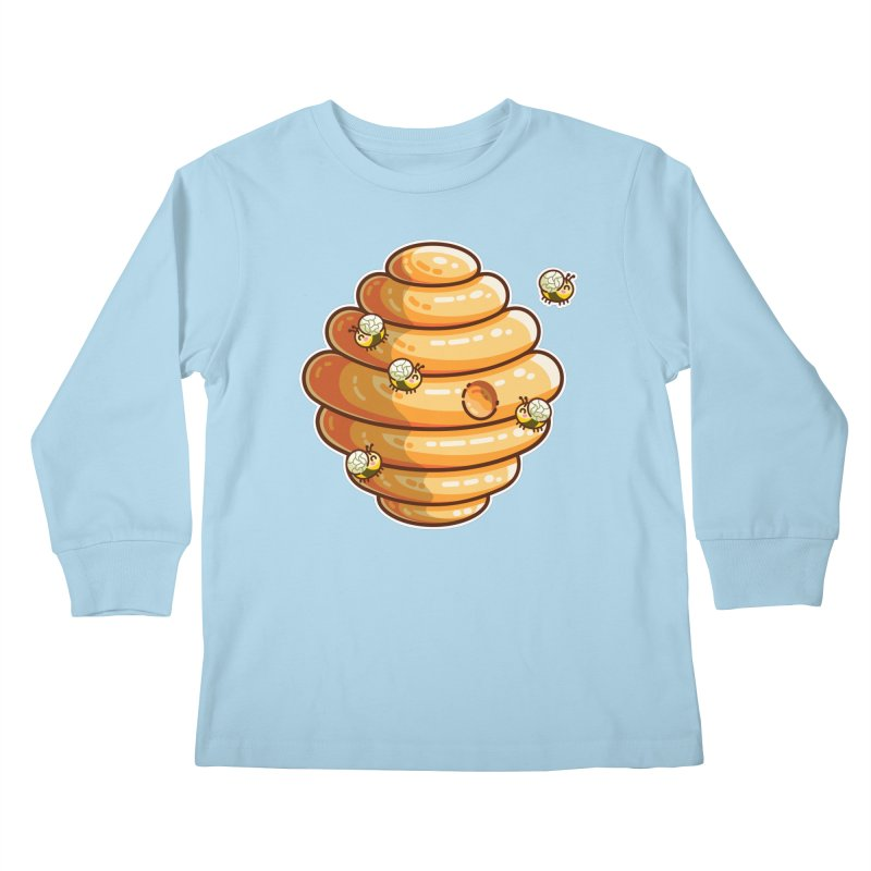 Kawaii Cute Bees and Beehive Kids Longsleeve T-Shirt by Flaming Imp's Artist Shop