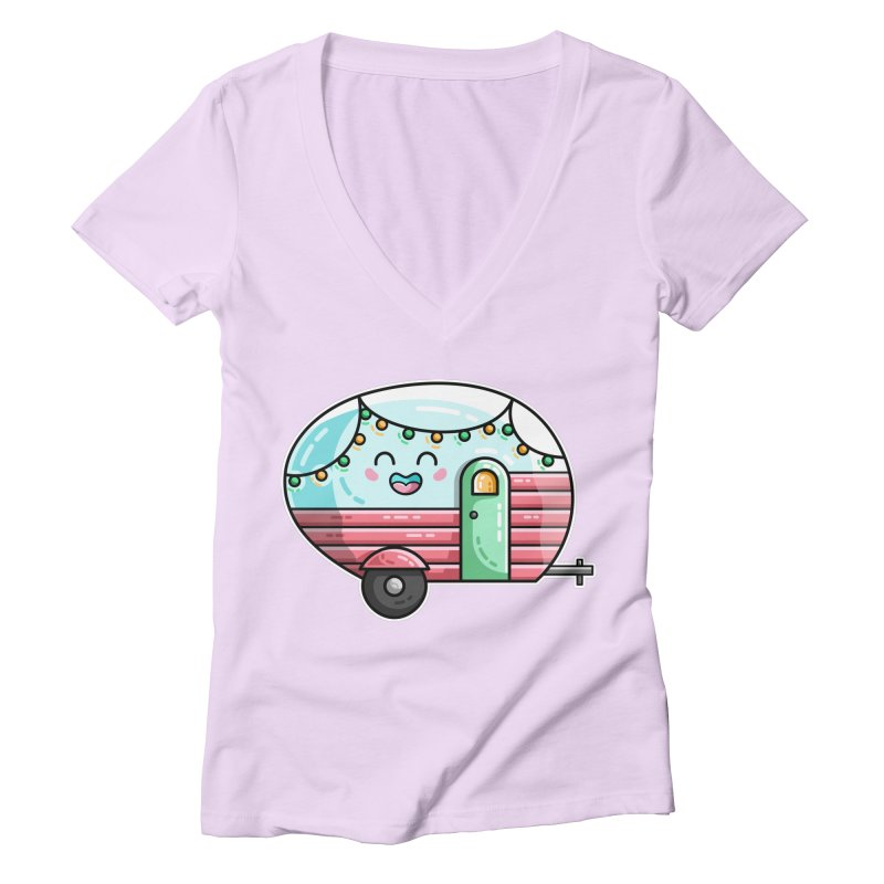 Kawaii Cute Vintage Caravan Women's Deep V-Neck V-Neck by Flaming Imp's Artist Shop