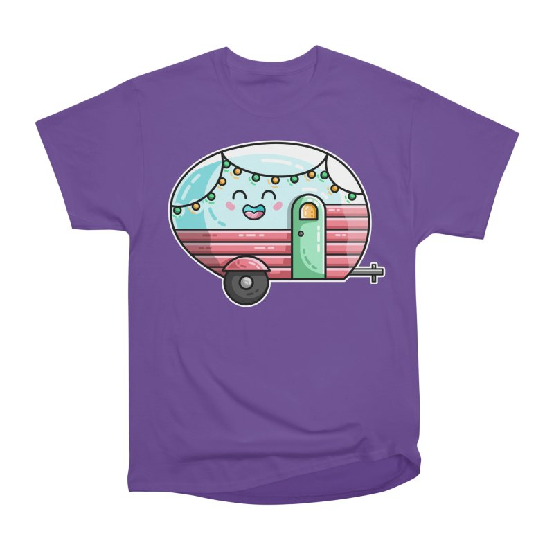 Kawaii Cute Vintage Caravan Women's Heavyweight Unisex T-Shirt by Flaming Imp's Artist Shop