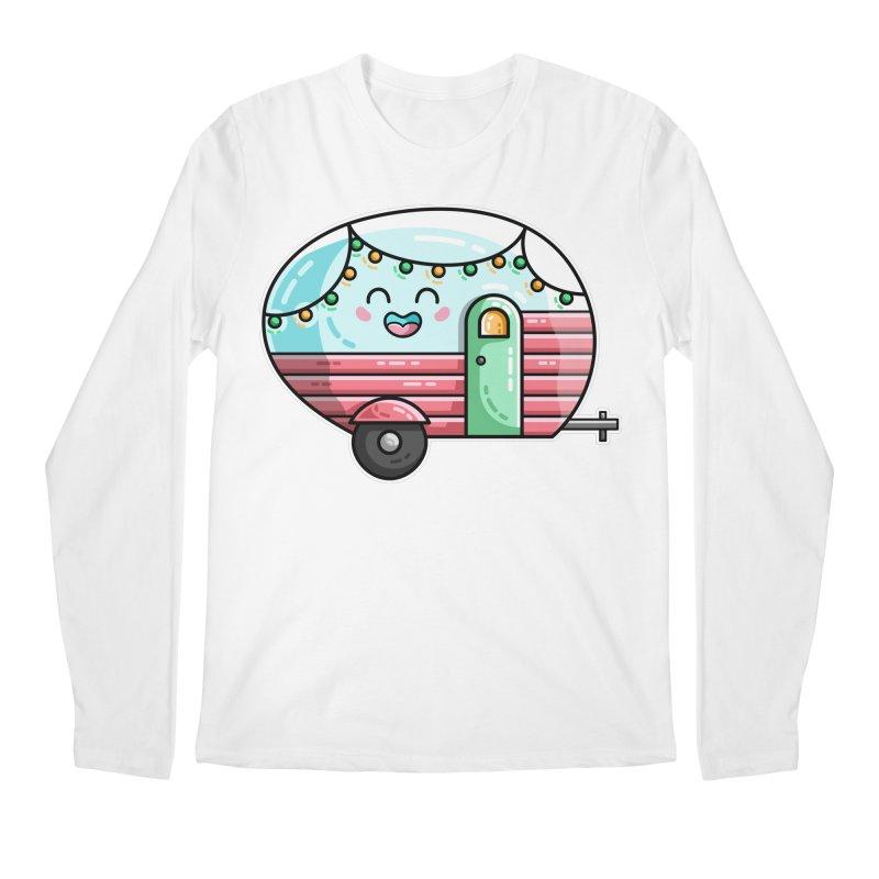 Kawaii Cute Vintage Caravan Men's Regular Longsleeve T-Shirt by Flaming Imp's Artist Shop