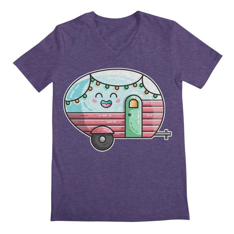 Kawaii Cute Vintage Caravan Men's Regular V-Neck by Flaming Imp's Artist Shop