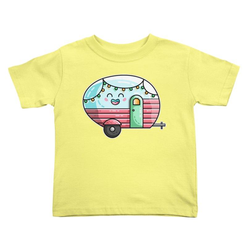 Kawaii Cute Vintage Caravan Kids Toddler T-Shirt by Flaming Imp's Artist Shop