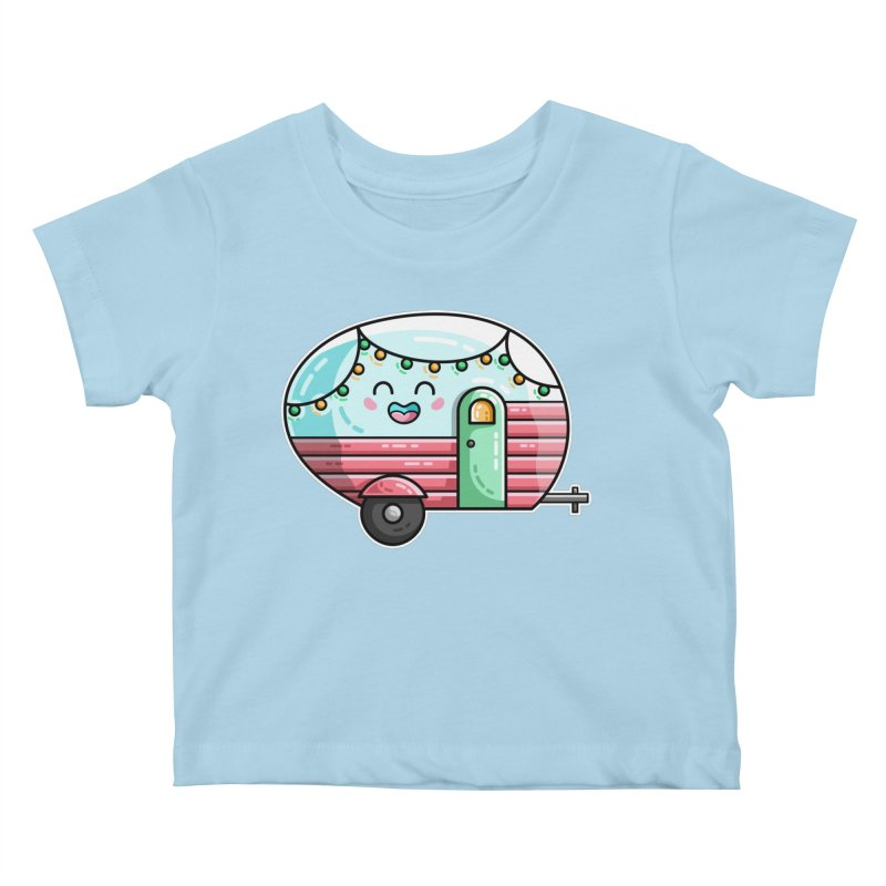 Kawaii Cute Vintage Caravan Kids Baby T-Shirt by Flaming Imp's Artist Shop