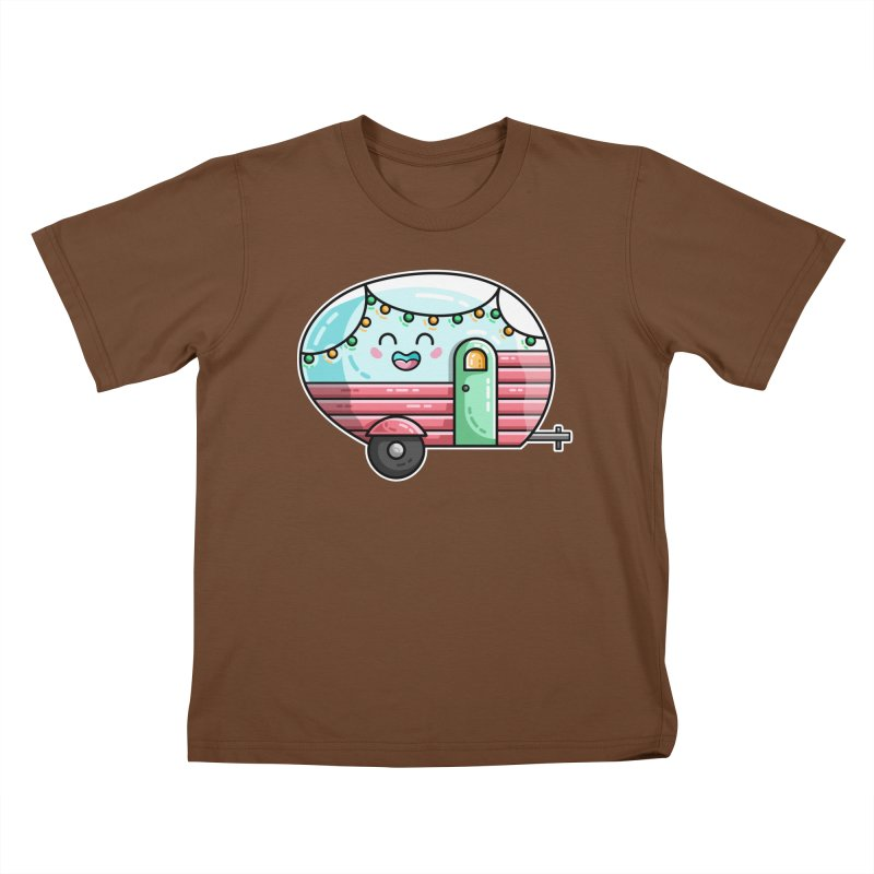 Kawaii Cute Vintage Caravan Kids T-Shirt by Flaming Imp's Artist Shop