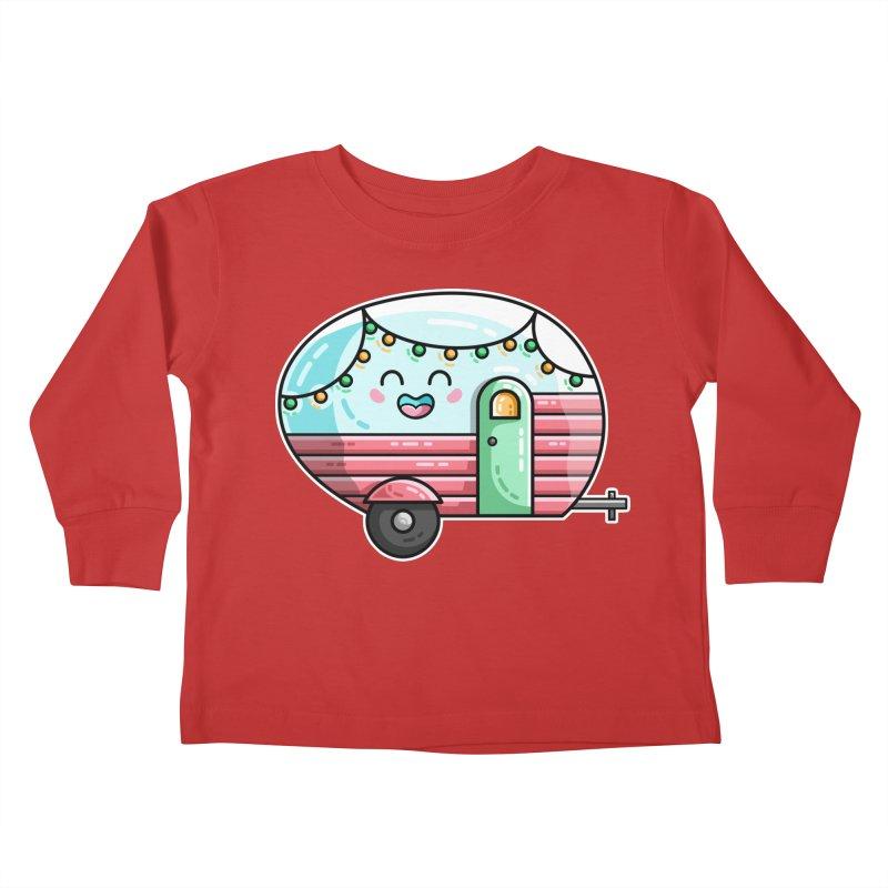 Kawaii Cute Vintage Caravan Kids Toddler Longsleeve T-Shirt by Flaming Imp's Artist Shop