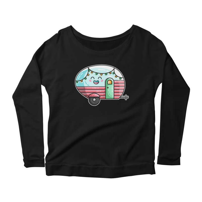 Kawaii Cute Vintage Caravan Women's Scoop Neck Longsleeve T-Shirt by Flaming Imp's Artist Shop