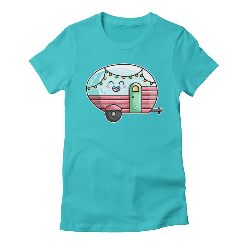 Kawaii Cute Vintage Caravan Women's Fitted T-Shirt by Flaming Imp's Artist Shop