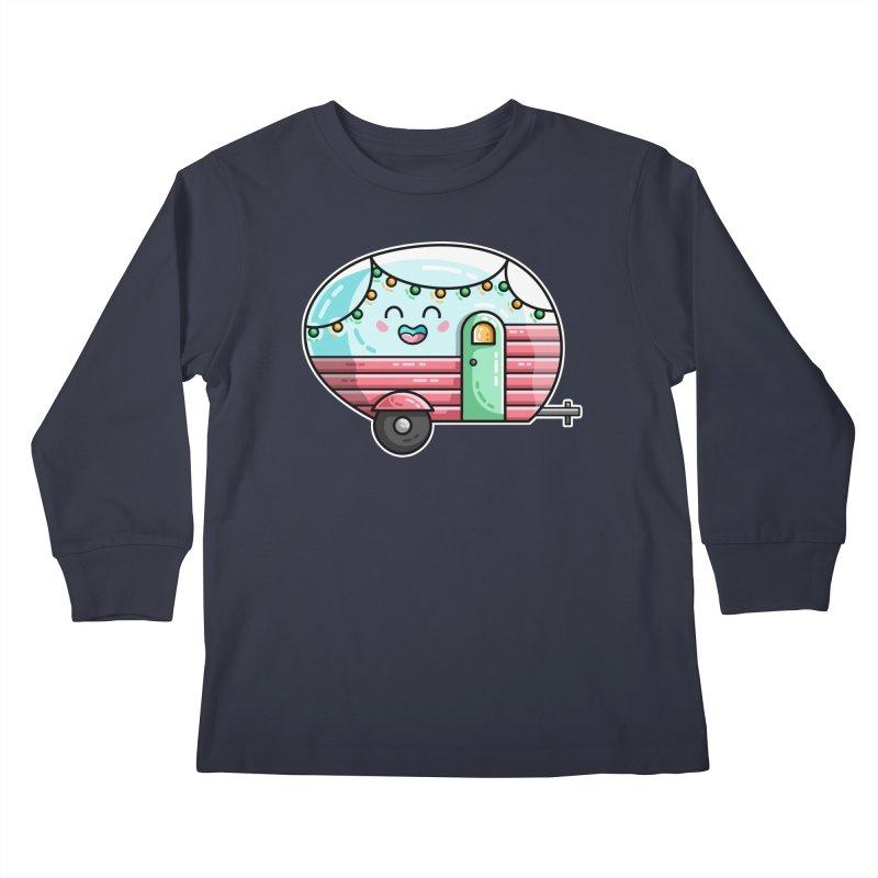 Kawaii Cute Vintage Caravan Kids Longsleeve T-Shirt by Flaming Imp's Artist Shop