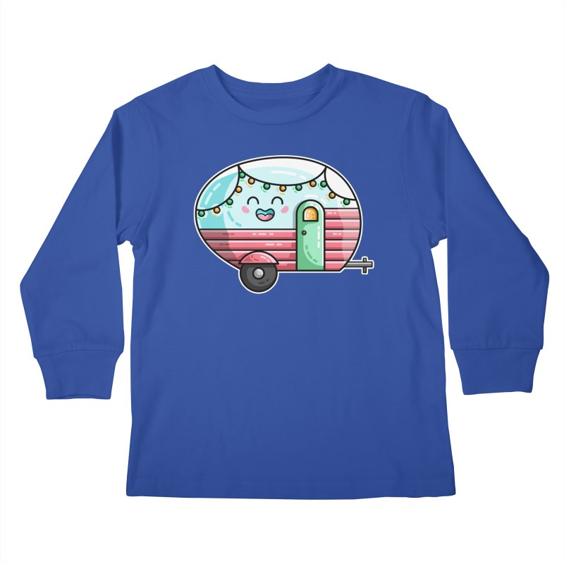Kawaii Cute Vintage Caravan Kids Longsleeve T-Shirt by Flaming Imp's Artist Shop