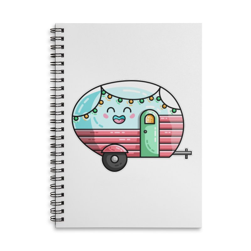 Kawaii Cute Vintage Caravan Accessories Lined Spiral Notebook by Flaming Imp's Artist Shop