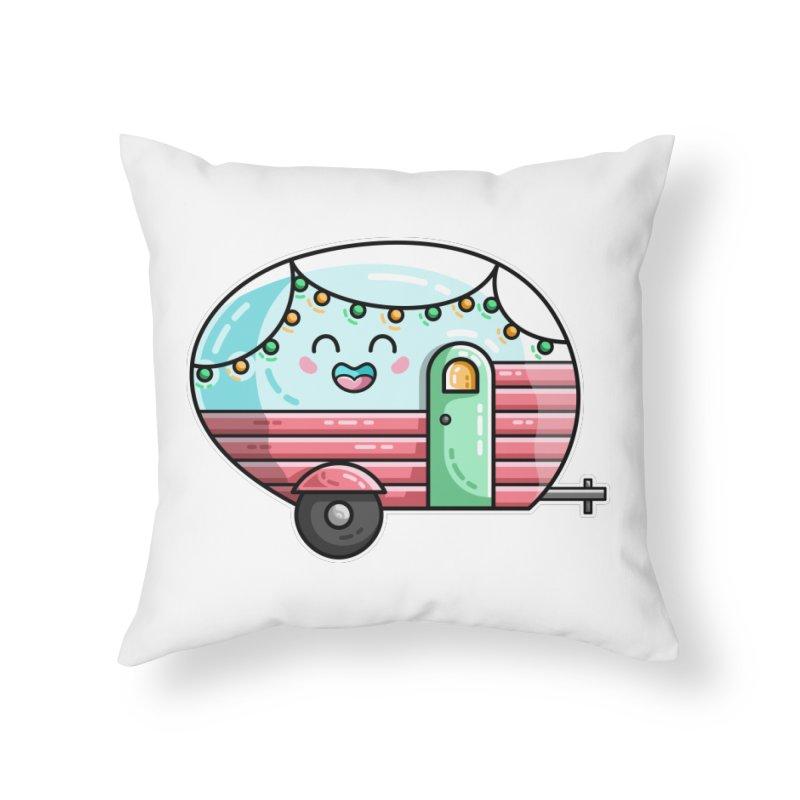 Kawaii Cute Vintage Caravan Home Throw Pillow by Flaming Imp's Artist Shop
