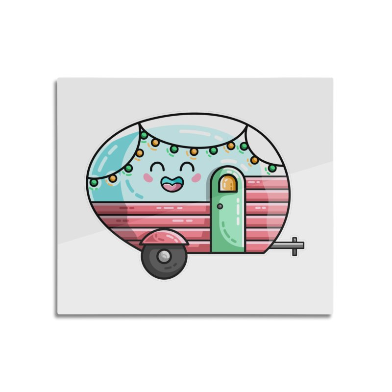 Kawaii Cute Vintage Caravan Home Mounted Aluminum Print by Flaming Imp's Artist Shop