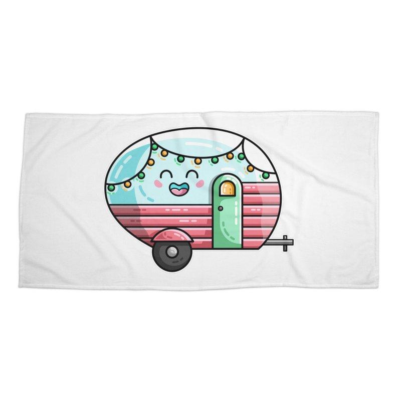 Kawaii Cute Vintage Caravan Accessories Beach Towel by Flaming Imp's Artist Shop