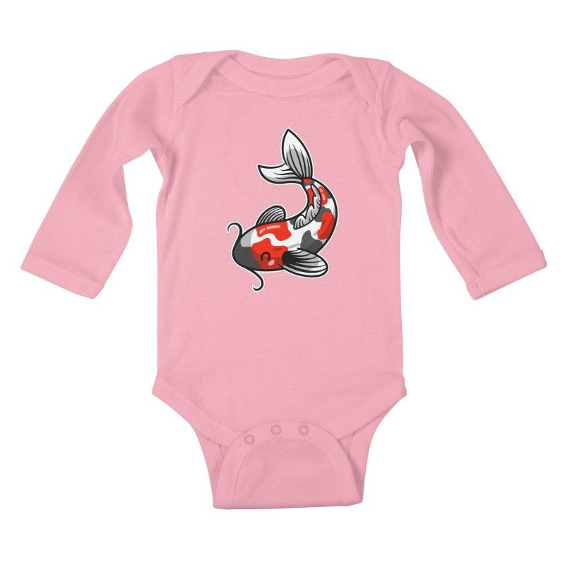 Kawaii Cute Japanese Koi Carp Fish Kids Baby Longsleeve Bodysuit by Flaming Imp's Artist Shop