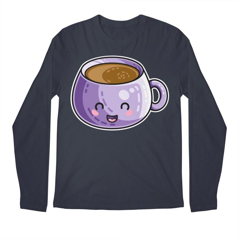 Kawaii Cute Coffee Men's Regular Longsleeve T-Shirt by Flaming Imp's Artist Shop
