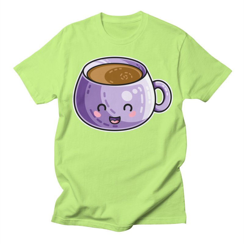 Kawaii Cute Coffee Men's Regular T-Shirt by Flaming Imp's Artist Shop