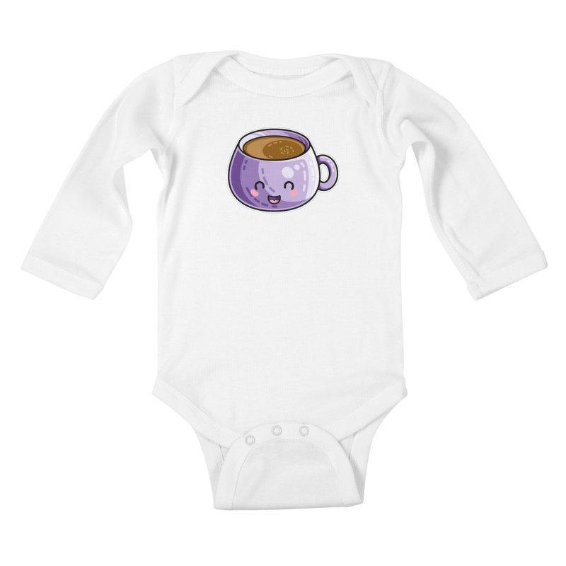 Kawaii Cute Coffee Kids Baby Longsleeve Bodysuit by Flaming Imp's Artist Shop