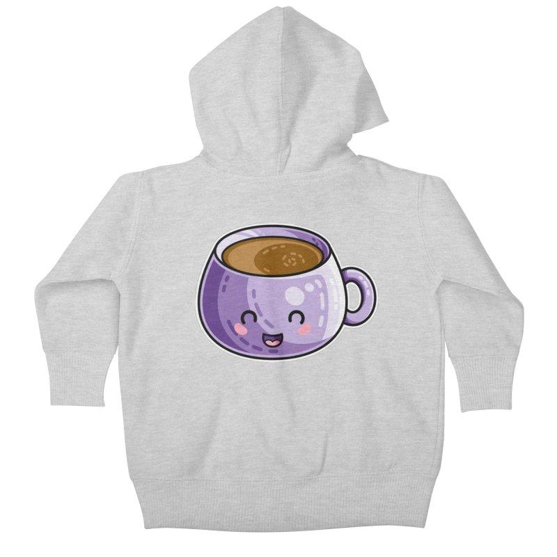 Kawaii Cute Coffee Kids Baby Zip-Up Hoody by Flaming Imp's Artist Shop