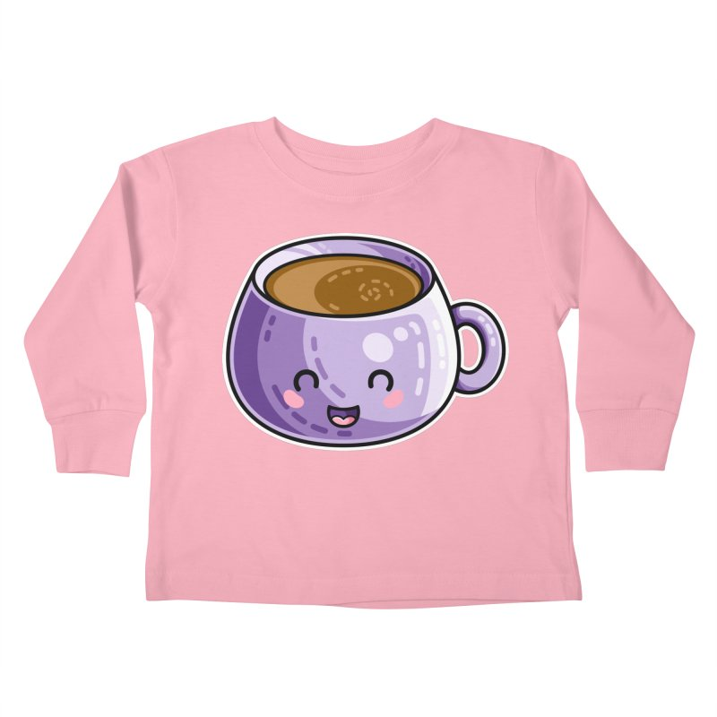 Kawaii Cute Coffee Kids Toddler Longsleeve T-Shirt by Flaming Imp's Artist Shop