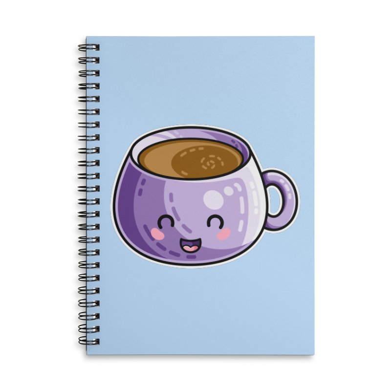 Kawaii Cute Coffee Accessories Lined Spiral Notebook by Flaming Imp's Artist Shop
