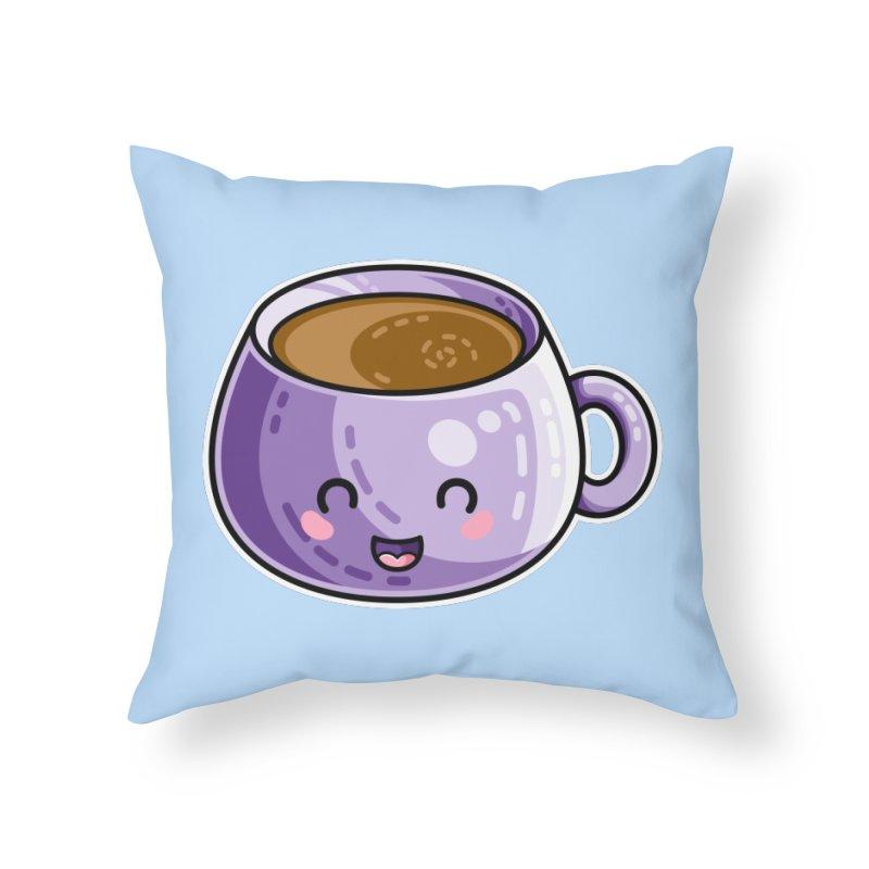 Kawaii Cute Coffee Home Throw Pillow by Flaming Imp's Artist Shop