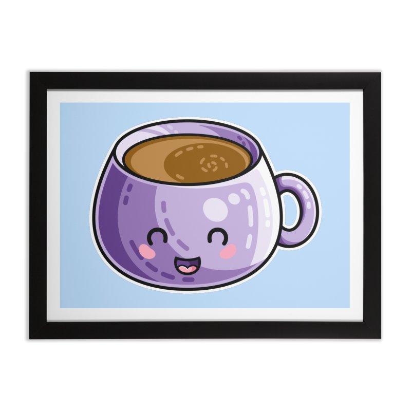 Kawaii Cute Coffee Home Framed Fine Art Print by Flaming Imp's Artist Shop