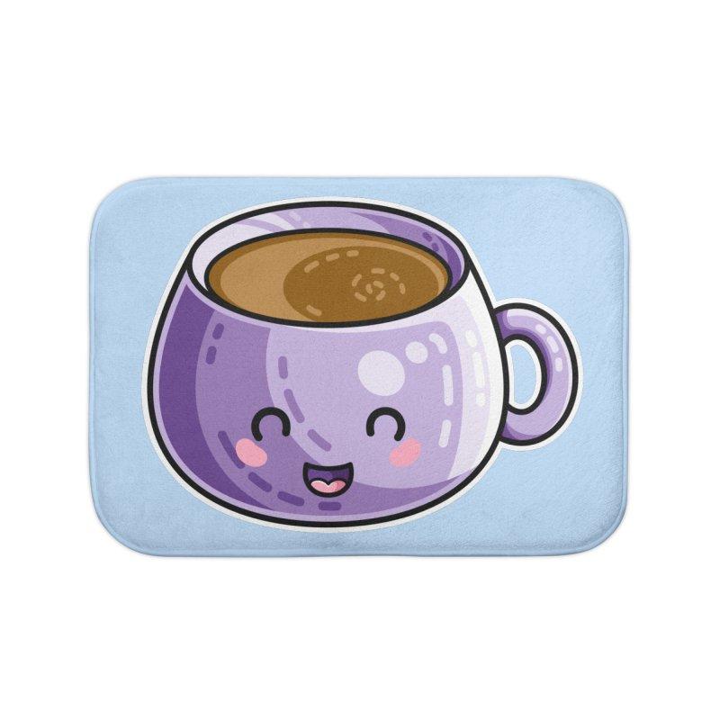 Kawaii Cute Coffee Home Bath Mat by Flaming Imp's Artist Shop