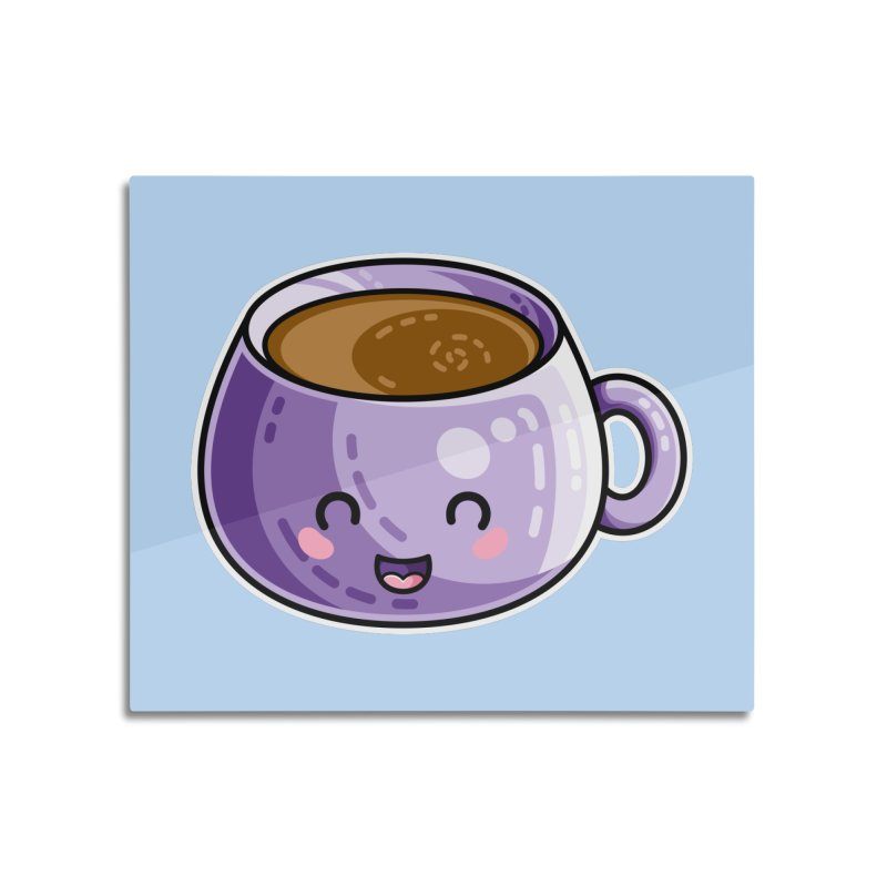 Kawaii Cute Coffee Home Mounted Aluminum Print by Flaming Imp's Artist Shop