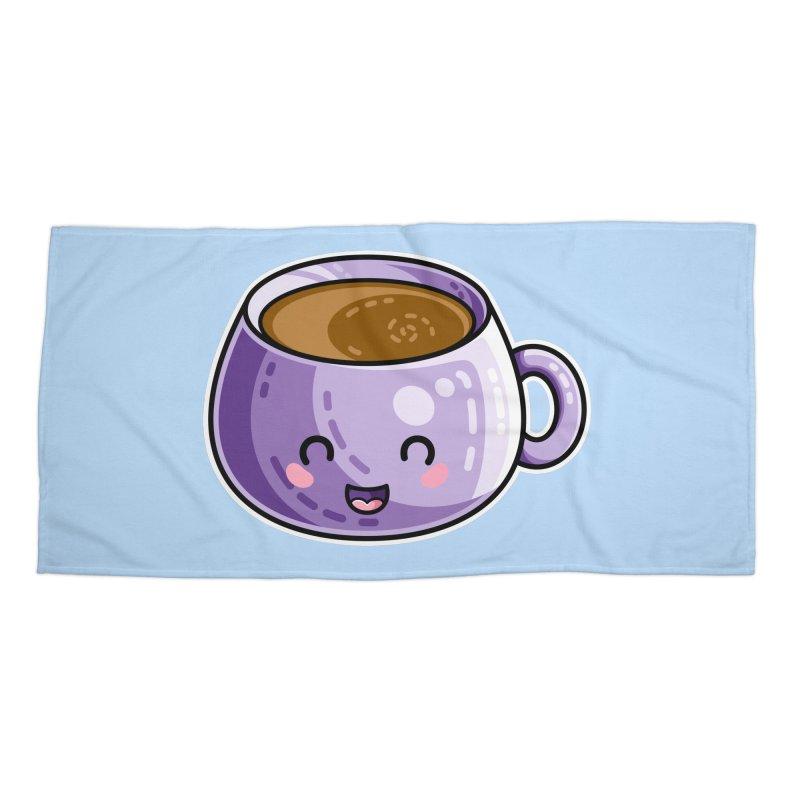 Kawaii Cute Coffee Accessories Beach Towel by Flaming Imp's Artist Shop