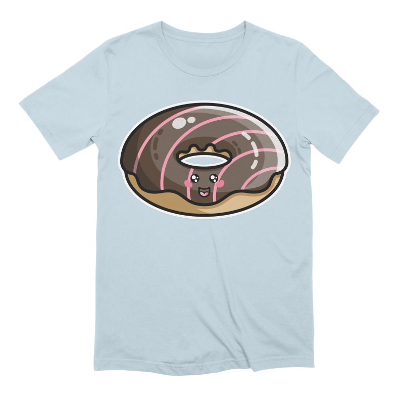 Kawaii Cute Chocolate Donut Men's Extra Soft T-Shirt by Flaming Imp's Artist Shop