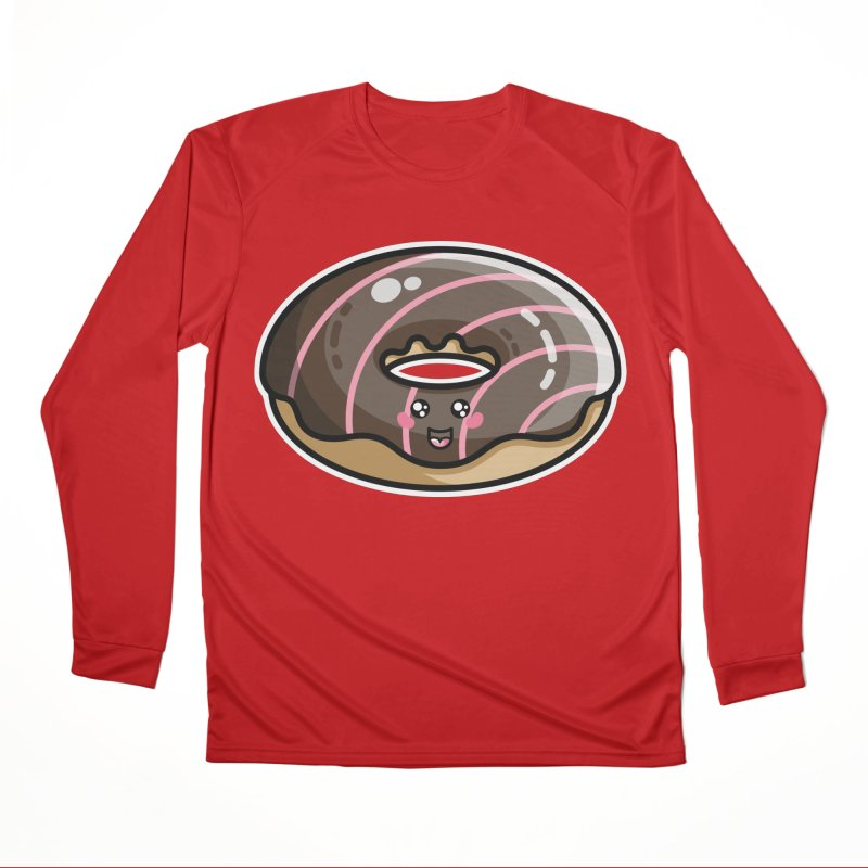 Kawaii Cute Chocolate Donut Women's Performance Unisex Longsleeve T-Shirt by Flaming Imp's Artist Shop