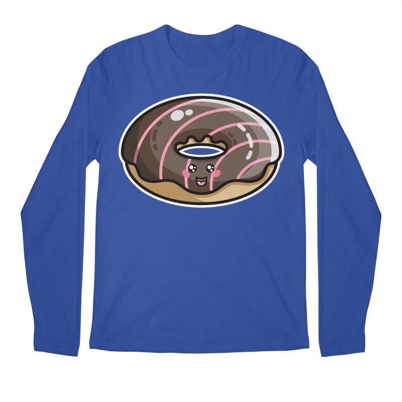 Kawaii Cute Chocolate Donut Men's Regular Longsleeve T-Shirt by Flaming Imp's Artist Shop