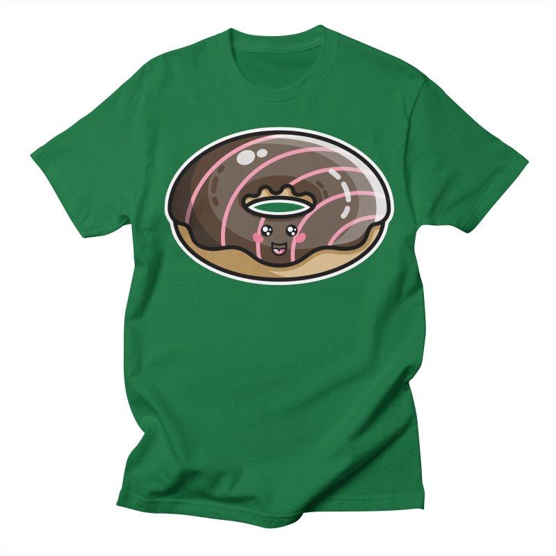 Kawaii Cute Chocolate Donut Women's Regular Unisex T-Shirt by Flaming Imp's Artist Shop