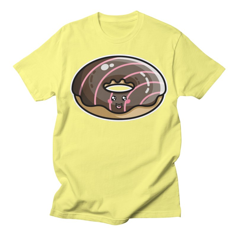 Kawaii Cute Chocolate Donut Men's Regular T-Shirt by Flaming Imp's Artist Shop