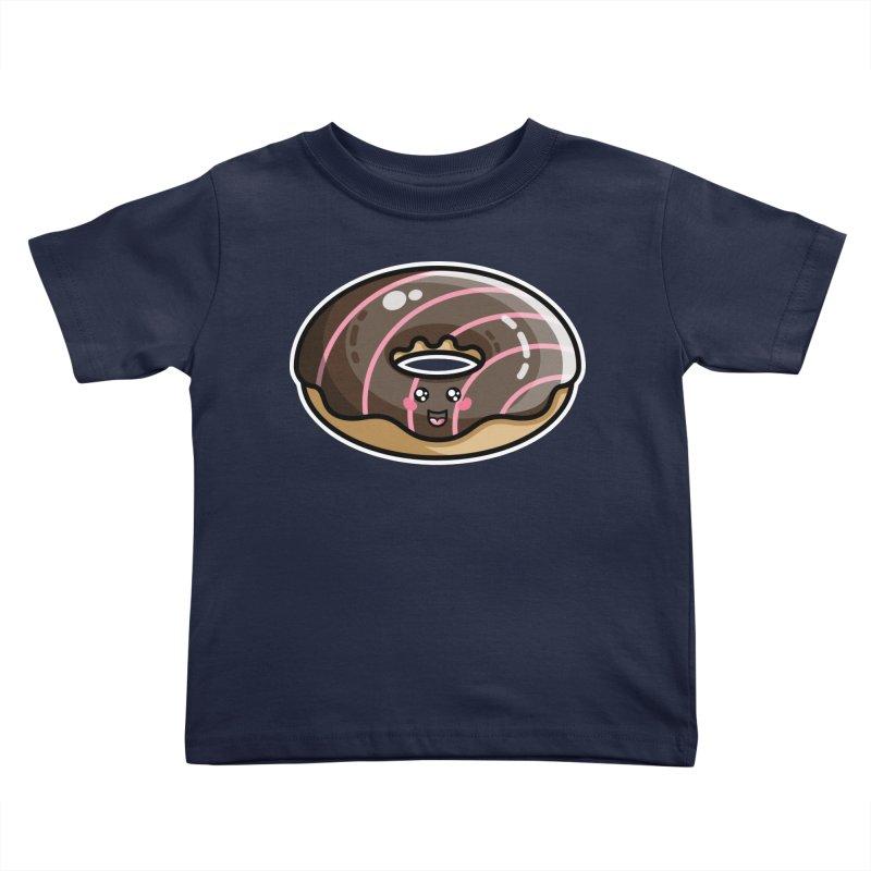Kawaii Cute Chocolate Donut Kids Toddler T-Shirt by Flaming Imp's Artist Shop