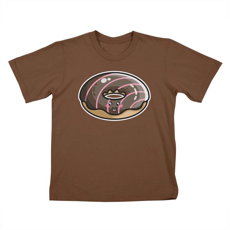 Kawaii Cute Chocolate Donut Kids T-Shirt by Flaming Imp's Artist Shop