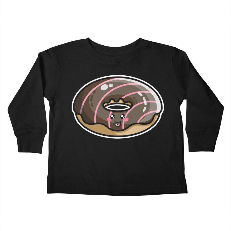 Kawaii Cute Chocolate Donut Kids Toddler Longsleeve T-Shirt by Flaming Imp's Artist Shop