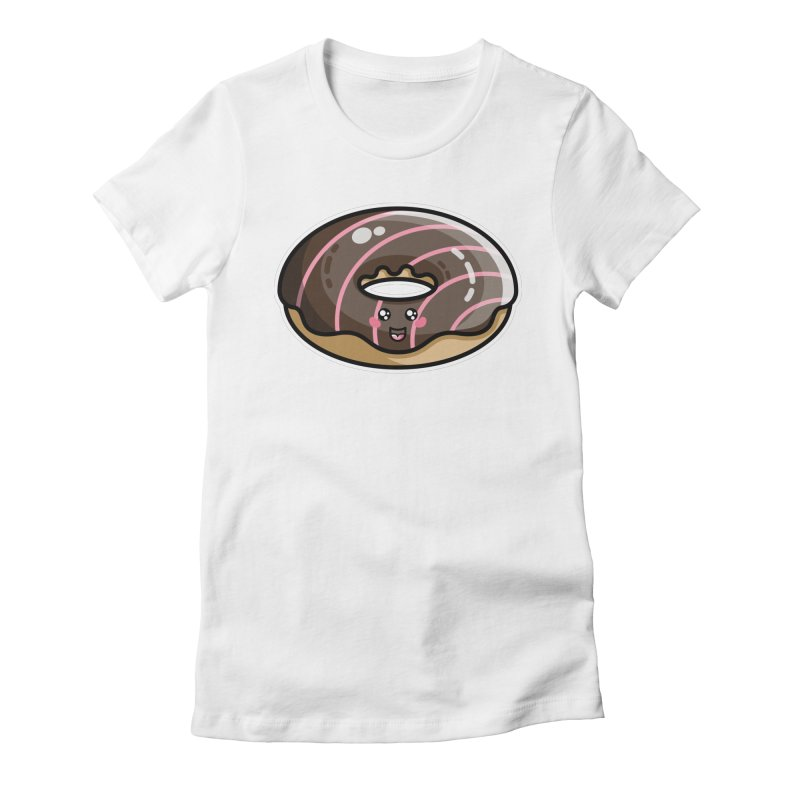 Kawaii Cute Chocolate Donut Women's Fitted T-Shirt by Flaming Imp's Artist Shop
