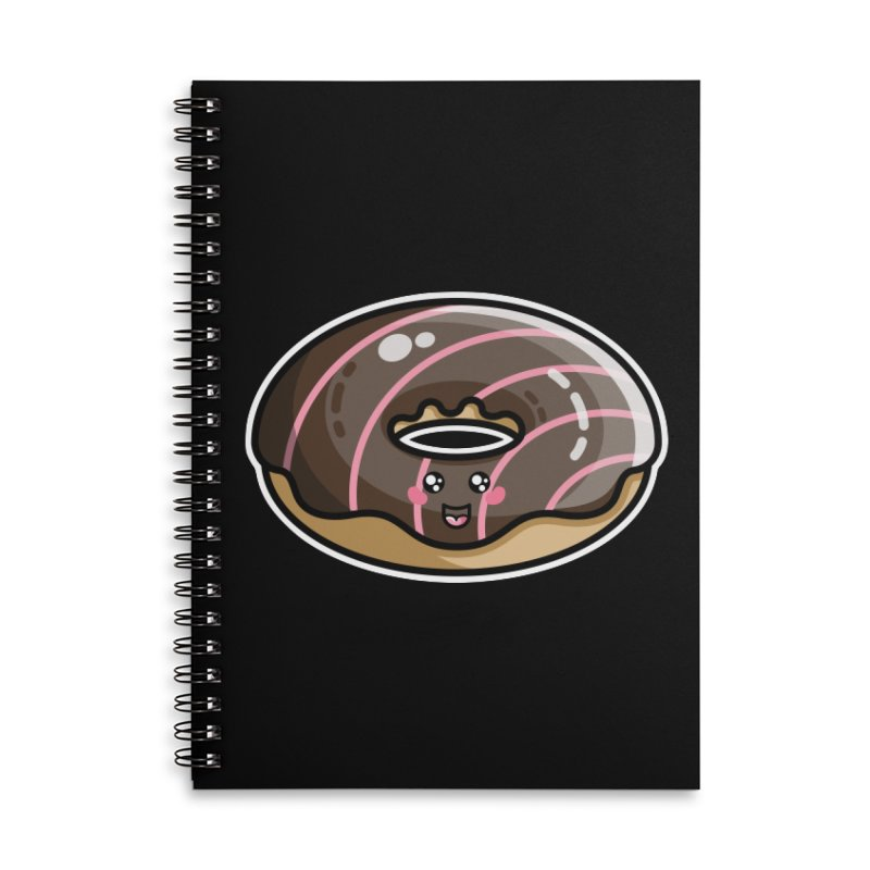 Kawaii Cute Chocolate Donut Accessories Lined Spiral Notebook by Flaming Imp's Artist Shop